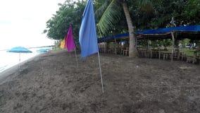 Kolorowe sztandar flaga i Parasolowy Parasol wykładają na tropikalnej pustej piaskowatej plaży zbiory