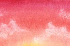 kolorowe tła abstrakcyjne Pomarańcze, czerwony gradient niebo, chmury Wręcza patroszonego z akwarelą na textured papierze ilustracji