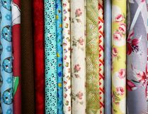 Kolorowe tkaniny dla patchworku Obrazy Stock