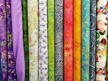 Kolorowe tkaniny dla patchworku Zdjęcia Royalty Free
