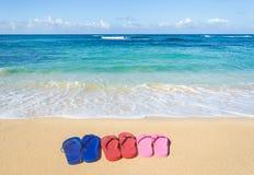 Kolorowe trzepnięcie klapy na piaskowatej plaży Zdjęcia Royalty Free