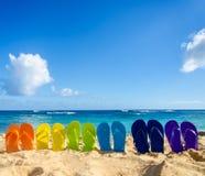 Kolorowe trzepnięcie klapy na piaskowatej plaży Fotografia Royalty Free