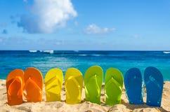 Kolorowe trzepnięcie klapy na piaskowatej plaży Fotografia Stock