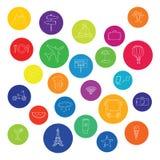 Kolorowe urlopowe ikony Zdjęcie Royalty Free