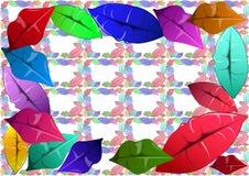 Kolorowe wargi dekorują kanwę royalty ilustracja