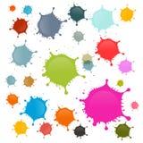 Kolorowe wektor plamy, kleksy, pluśnięcia Ustawiający Zdjęcie Royalty Free