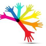 Kolorowe Wektorowe Ludzkie palm ręki Odizolowywać ilustracja wektor