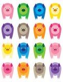 kolorowe świnie Zdjęcia Royalty Free