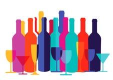 Kolorowe wino butelki, szkła i Fotografia Royalty Free