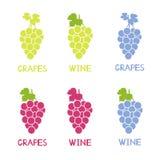 Kolorowe winogrono ikony, ręcznie pisany słów winogrona i wino, Zdjęcie Royalty Free