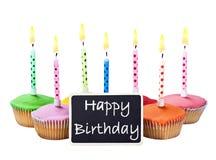 Kolorowe wszystkiego najlepszego z okazji urodzin babeczki z świeczkami Obraz Royalty Free