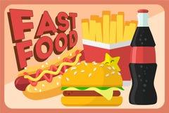 Kolorowego fasta food wektorowy retro sztandar Fasta food hamburgeru gość restauracji i restauracja, smakowity ustalony fast food royalty ilustracja