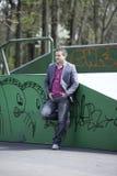 kolorowego frontowego graffiti mężczyzna target761_0_ potomstwa Zdjęcie Stock