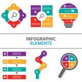 Kolorowego Infographic elementów ikony prezentaci szablonu płaski projekt ustawia dla reklamowej marketingowej broszurki ulotki Zdjęcia Royalty Free