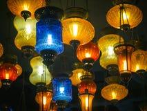 Kolorowego lampionu światła jaskrawa jarzeniowa Wewnętrzna dekoracja Obrazy Royalty Free