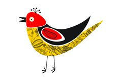 Kolorowego odosobnionego rocznika trwanie ptak Roczników kwiatów wzór na ptaku ilustracja wektor