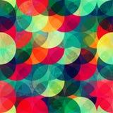 Kolorowego okręgu bezszwowy wzór z grunge skutkiem Zdjęcie Stock