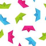 Kolorowego origami papieru podróży łódkowaty pojęcie na białym tle Fotografia Stock