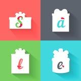 Kolorowego płaskiego prezenta ikon ustalony pojęcie Bożenarodzeniowy i Wakacyjny sprzedaży tło z stylizowaną słowo sprzedażą boże Zdjęcie Stock