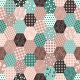 Kolorowego patchworku Bezszwowi wzory. Zdjęcia Royalty Free