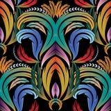 Kolorowego rocznika kwiecisty bezszwowy wzór Wektoru adamaszkowy backgrou ilustracji