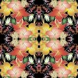 Kolorowego rocznika kwiecisty wektorowy bezszwowy wzór royalty ilustracja