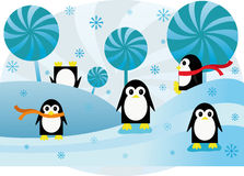 Kolorowego tła śmieszni pingwiny Zdjęcia Royalty Free