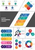 Kolorowego wielocelowego infographic elementu projekta płaski set royalty ilustracja