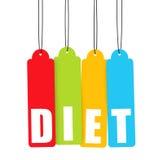 kolorowej diety wiszące etykietki Fotografia Stock