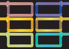 Kolorowej faborek ramy projekta Wektorowy element na Czarnych półdupkach Fotografia Stock