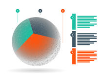 Kolorowej geometrycznej kuli ziemskiej biznesowa grafika z objaśniającymi tekstów polami odizolowywającymi na białym tle Zdjęcie Stock
