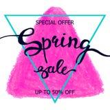 Kolorowej kredkowej skrobaniny wiosny plakatowa sprzedaż Fotografia Stock