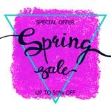 Kolorowej kredkowej skrobaniny wiosny plakatowa sprzedaż Obrazy Stock