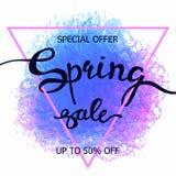 Kolorowej kredkowej skrobaniny wiosny plakatowa sprzedaż Zdjęcie Stock
