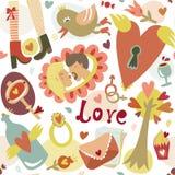 Kolorowej kreskówki romantycznej miłości bezszwowy wzór Zdjęcia Royalty Free