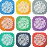 Kolorowej Płaskiej odcisk palca ikony Wektorowy projekt Zdjęcie Stock