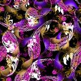 Kolorowej pięknej elegancji Paisley wektorowy bezszwowy wzór Ornamentacyjny jaskrawy kwiecisty tło Ozdobny powtórki tło ethnic royalty ilustracja