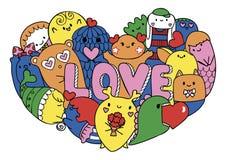 Kolorowi śliczni potwory tworzą w hearted kształcie z list miłością dla drukowanego trójnika, karty, zaproszenia ściągania ilustr Zdjęcie Royalty Free