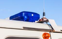 Kolorowi światła na górze rosyjskiego samochodu policyjnego Zdjęcie Stock