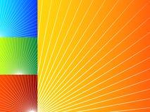 Kolorowi abstrakcjonistyczni tła z promieniowymi liniami ilustracja wektor