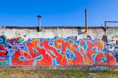 Kolorowi abstrakcjonistyczni tekstów graffiti wzory na betonie Obraz Stock