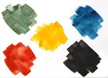 Kolorowi akwareli muśnięcia uderzenia, abstrakcjonistyczni farby muśnięcia uderzenia, set kolorowa akwarela plamią odosobnio royalty ilustracja