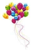 Kolorowi balony, dekorujący z rozochoconym bukietem Zdjęcia Royalty Free