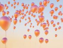 Kolorowi balony lata do nieba zdjęcia royalty free