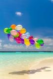 Kolorowi balony lata w wiatrze Fotografia Royalty Free