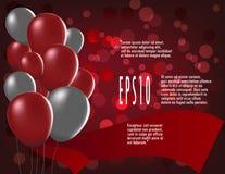 Kolorowi balony na czerwonym tle z bokeh Fotografia Stock