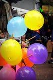 Kolorowi balony na ulicie przy funfair obrazy royalty free