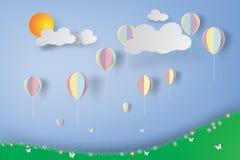 Kolorowi balony w kwiatu ogródzie Zdjęcie Royalty Free