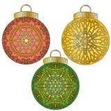 Kolorowi baubles z ornamentami inkasowymi Obraz Royalty Free