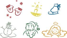 kolorowi Bożych Narodzeń doodles Zdjęcia Stock